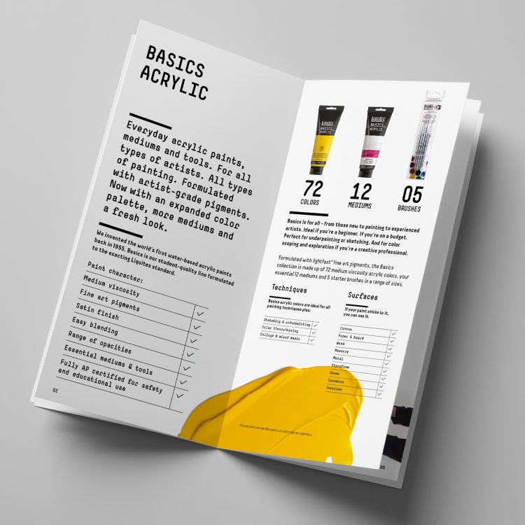 Liquitex Basics Acrylic Paint Product Booklet