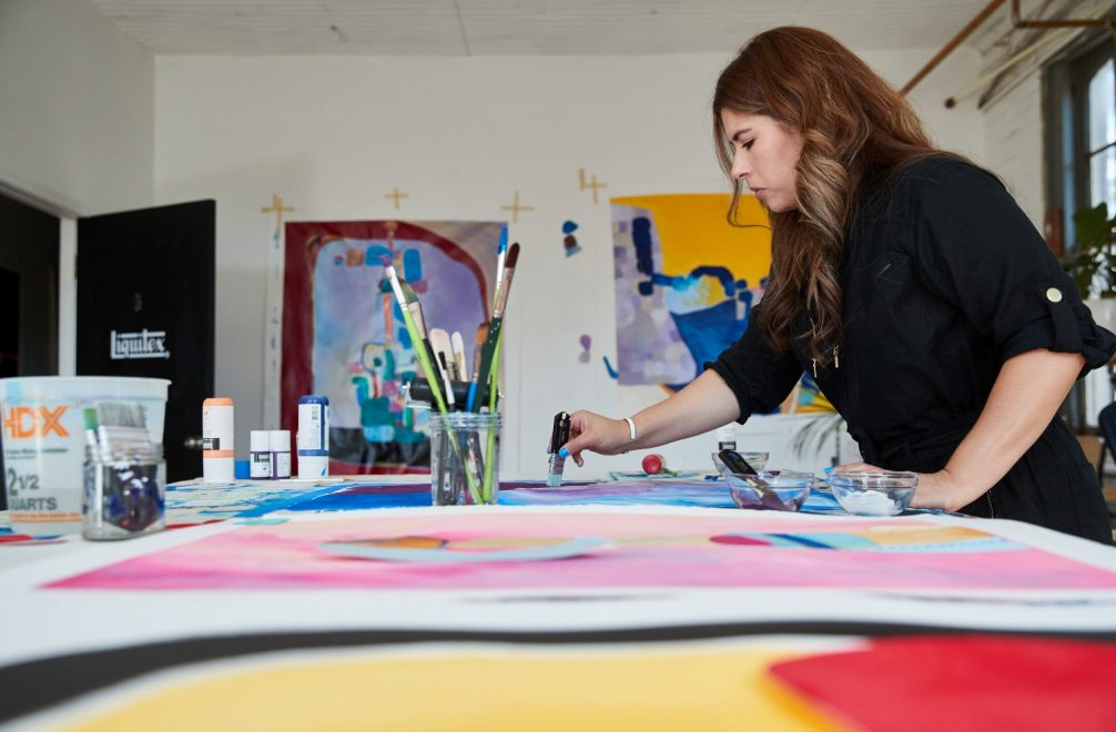 Cynthia in the art studio