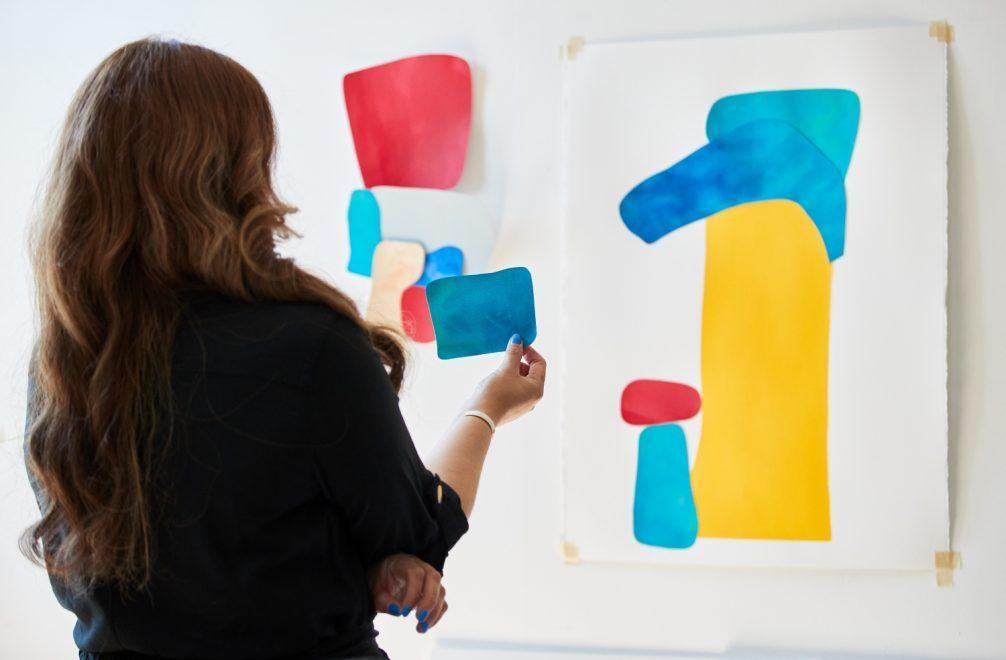 Cynthia planning with acrylic mediums the art studio
