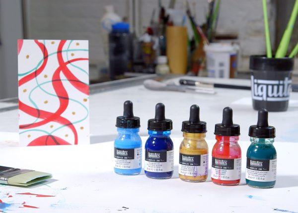 DIY Holiday card creation using Acrylic Inks