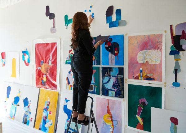 Cynthia planning in the art studio