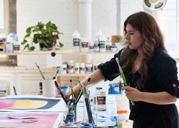 Cynthia creating with acrylic mediums